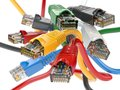 Computer network LAN cables rj45 of different colors. Imternet Royalty Free Stock Photo