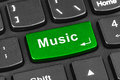 Computer notebook keyboard with Music key Royalty Free Stock Photo