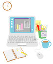 Computer on the office desk working items Stock Photos