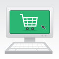 Computer online shopping with screen Stock Photo