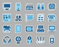 Computer patch sticker icons vector set Royalty Free Stock Photo