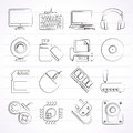 Computer peripherals and accessories icons Royalty Free Stock Photo