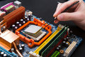Computer processor chip disassembling close up Royalty Free Stock Photo