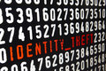 Computer screen with identity theft text on black background Royalty Free Stock Photo