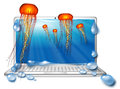 Computer screen with jellyfish underwater Royalty Free Stock Photo