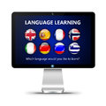 Computer screen with language learning page over white background Stock Photos