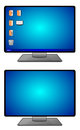 Computer screens illustration of one with desktop icons and one without icons Royalty Free Stock Image