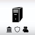 Computer server icon, vector illustration. Flat design style