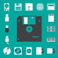 Computer and storage icons set. Stock Images