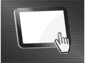 Computer tablet with hand cursor Stock Photography