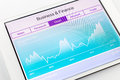 Computer tablet showing chart of financial and stock market data with or graph on display screen business finance concept Royalty Free Stock Image