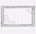 Computer tablet sketch a realistic gray hand drawn illustration Royalty Free Stock Image