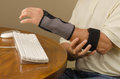 Computer tendinitis carpal tunnel syndrome repetitive stress a man is experiencing user pain with and injury very common to people Stock Photography