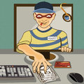 Computer thief vector illustration of a man from a monitor stealing money serial Royalty Free Stock Photo