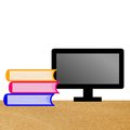 Computer and three books on a table illustration Royalty Free Stock Images