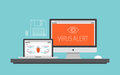 Computer virus alert concept illustration flat design style modern vector of and laptop with message trojan and worm distribution Stock Photography