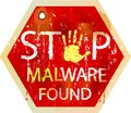 Computer virus alert malware copmuter warning sign grungy style illustration Royalty Free Stock Images
