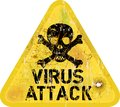Computer virus attack alert grungy sign vector Royalty Free Stock Photo