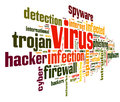 Computer virus concept word tag cloud white background Stock Images
