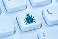 Computer virus Trojan network security blue internet keyboard Royalty Free Stock Photo