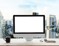 Computer white frame on work table in office place city Royalty Free Stock Photo