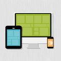 Computing concept on different electronic devices vector illustration Royalty Free Stock Images