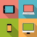 Computing concept on different electronic devices vector illustration Stock Photos