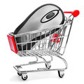 Computing mouse in a shopping cart symolizing the online shoppi on white background depicting concept Royalty Free Stock Photos