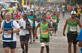 Comrades marathon horde a road full of runners in the annual Stock Photography