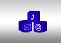 Comunication symbols inside blue cubes Royalty Free Stock Images