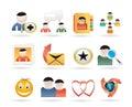 Comunidad de Internet e iconos sociales de la red Imagen de archivo