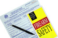 Concealed weapon permit application and safety brochure for law enforcement Stock Photo