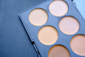 Concealers closeup.Set of decorative cosmetics for makeup, for contouring the face. Royalty Free Stock Photo