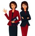 Conceito dos trabalhos de equipa mulher de negócios de sorriso nova showing ok sign Fotografia de Stock