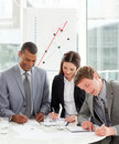 Concentrated business people working together Stock Images