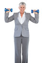 Concentrated businesswoman holding dumbbells on white background Royalty Free Stock Image