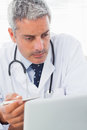 Concentrated doctor watching something on his laptop in medical office Royalty Free Stock Photo