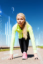 Concentrated woman doing running outdoors sport and lifestyle concept Royalty Free Stock Photo