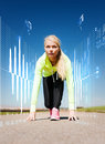 Concentrated woman doing running outdoors sport and lifestyle concept Stock Images