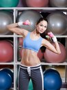 Concentrated young woman training with dumbbells Royalty Free Stock Image