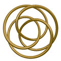 Concentric circles d illustration of interlocking golden metal rings Stock Photography