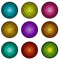 Concentric pipe shape in multiple colors over white pipes Stock Images