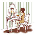 Concept of alcoholism young woman drinking wine in front the mirror Stock Images