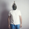 Concept of angry man creative portrait grenade head calm emotion Royalty Free Stock Photos