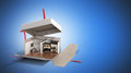 Concept apartment as a gift Kitchen interior in an open box 3d r
