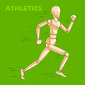 Concept of Athlete with wooden human mannequin Royalty Free Stock Photo