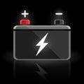 Concept automotive 12 volt car battery design on black background.