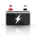 Concept automotive 12 volt car battery design on white background