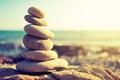 Concept of balance and harmony. rocks on the coast of the Sea Royalty Free Stock Photo