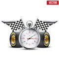 Concept banner car racing and championship stopwatch tubes in form wings editable vector illustration Stock Photo